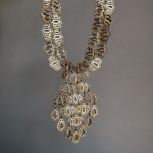 Vintage gold filigre bib necklace collar cleopatra
